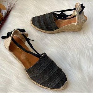Andre Assous Wedge Lace Up Espadrilles Size 9